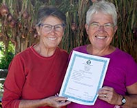 Suzanne and Lanita with their Organic Certification