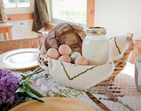 farm fresh eggs, milk and bread