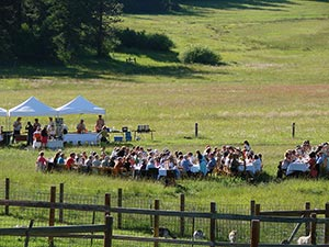 Farm to Table dinner on a sunny afternoon in Willow-Witt pasture