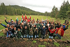Restoration Work Feels Good - students helping wetland restoration efforts at Willow-Witt Ranch