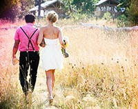 bride and groom walking together after outdoor wedding at Willow-Witt Ranch